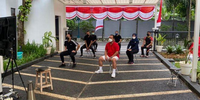 Kementerian Hukum dan HAM (Kemenkumham) menggelar kegiatan Kumham Sehat Kumham Produktif. foto:ist