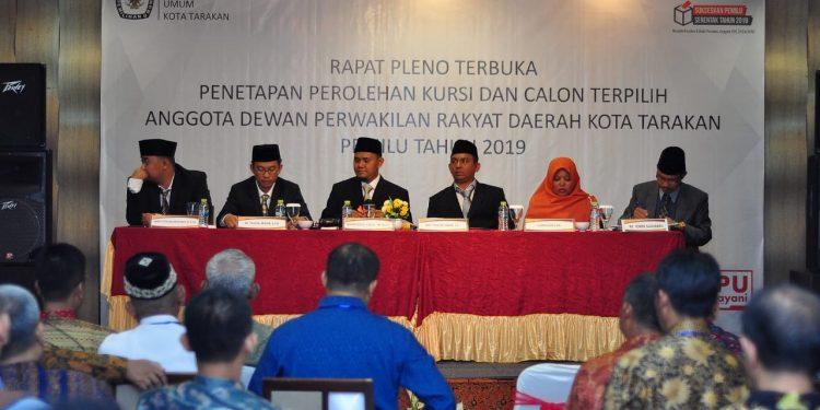 Rapat Pleno Terbuka Penetapan Kursi dan Calon Terpilih Anggota DPRD Kota Tarakan Pemilu Tahun 2019 (22/7). Poto : Slamet