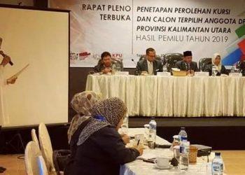 Rapat Pleno Penetapan Calon Terpilih DPRD Kaltara. (22/7). Poto : Istimewa