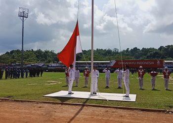 HUT RI Ke-74, Upacara Detik-Detik Proklamsi Berjalan dengan Penuh Khitmad di Stadion Datu Adil Tarakan, Sabtu (17/8). Poto : Istimewa