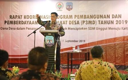 RAKOR : Gubernur Kaltara Dr H Irianto Lambrie saat memberikan arahan pada pembukaan Rakor P3MD Tahun 2019, Minggu (8/9) malam.Poto: Humas Pemprov Kaltara