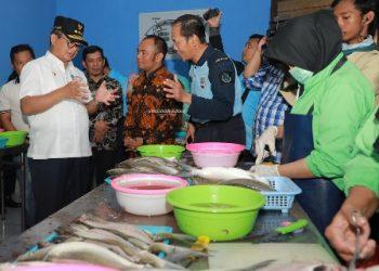 PERIKANAN : Gubernur Kaltara Dr H Irianto Lambrie saat meninjau salah satu industri pengelolaan hasil perikanan di Kaltara, belum lama ini.Poto: Humas Pemprov Kaltara