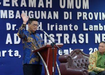 SEMINAR AKHIR : Gubernur Kaltara, Dr H Irianto Lambrie menjadi mentor Diklatpim Tingkat I Sekretars Provinsi Kaltara, H Suriansyah di Kampus LAN RI Pejompongan Jakarta Pusat, Kamis (5/9).
