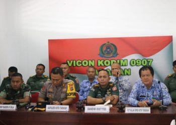 Video Conference (Vicon) Serentak dengan seluruh Satuan Jajaran Kodam VI/Mlw diantaranya Kodim 0907/Trk.PotoPenerangan Kodim 0907/Trk
