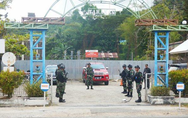 Prajurit Yonmarhanlan XIII/Tarakan Gelar Latihan Pengamanan Obvitnas di Area Wilayah Kerja Pertamina EP Asset 5 Tarakan Field(23/9).Poto:Istimewa