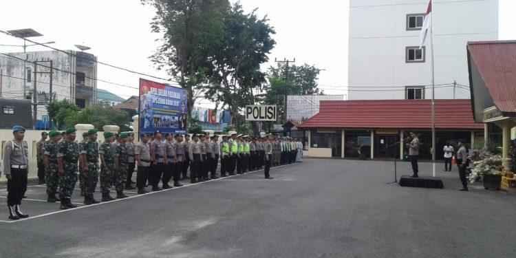 Anggota Kodim 0907/Trk Ikut Serta Dalam Apel Gelar Pasukan Ops Zebra Kayan 2019 di Mako Polres Tarakan.Poto:Pendim0907/Trk