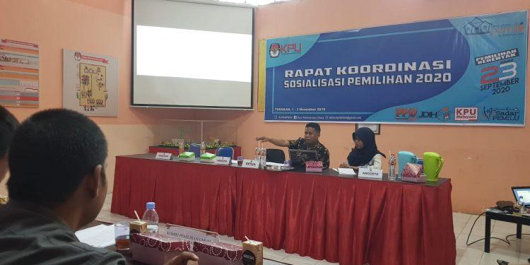 Rapat Koordinasi Sosialisasi Pemilihan 2020 Oleh KPU Provinsi Kaltara dan KPU Kabupaten Kota (2/11). Poto: Slamet / fokusborneo.com