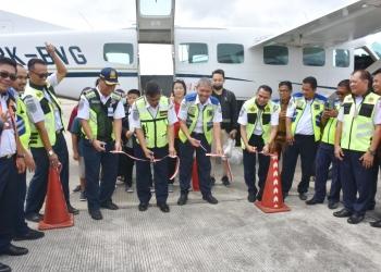SOA ORANG 2020 : Peresmian penerbangan perdana program SOA Orang tahun 2020 dari APBN, untuk rute Tarakan-Long Bawan (PP), Senin (13/1). Poto: Humas Provinsi Kaltara