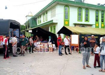 Posko Pengungsian di Halaman Masjid AT Taqwa Sebengkok. Poto: fokusborneo.com