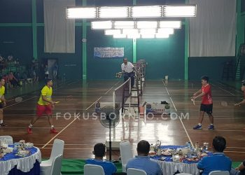 pertandingan Final Ganda Putra Dewasa open Ardianto/Renal vs Rizky/Komandani. Poto: fokusborneo.com
