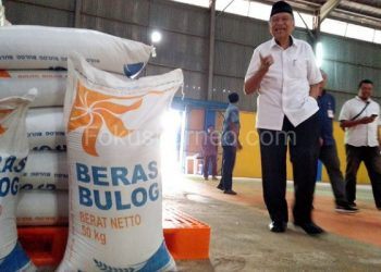 Wagub Kaltara Udin Hianggio saat Meninjau Stok Beras di Gudang Bulog Tarakan. Poto: fokusborneo.com