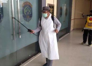 Penyemprotan Disinfektan di Fasilitas Publik Kelurahan Kampung 4 Tarakan, Poto: Istimewa