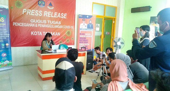 Press Release Percepatan Penanganan Covid-19 Tarakan Oleh Jubir Tim Gugus Tugas. Poto: Fokusborneo.com