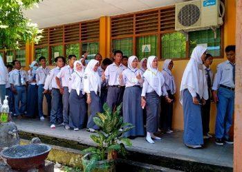 Pesert UNBK di SMK N 1 Tarakan sebelum PSBB di Tarakan. poto: fokusborneo.com