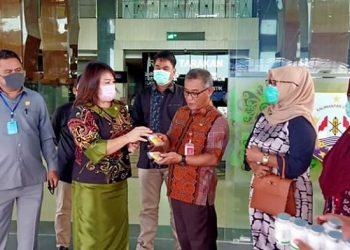 Ketua DPRD Provinsi Kaltara Nurhayati Andris serahkan bantuan suplemen dan vitamin ke petugas medis RSUD Tarakan, Jumat (03/3). Foto : Istimewa