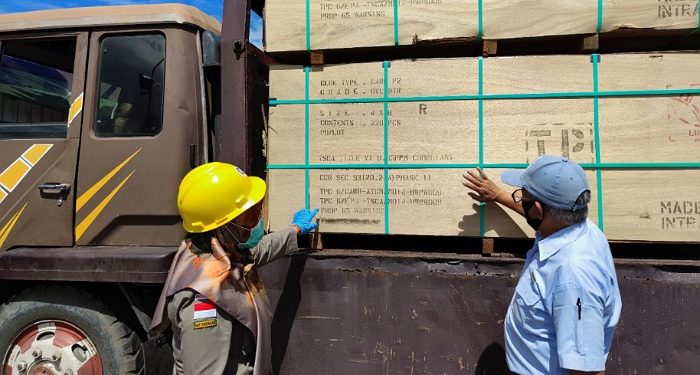 Petugas Karantina Mengecek Kayu Olahan dari Tarakan. Foto: Istimewa