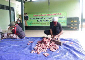 Perayaan Iduladha : Kodim 0907/Trk melaksanakan pemotongan hewan kurban bertempat di Lapangan Makodim. Foto: Pendim0907/Trk