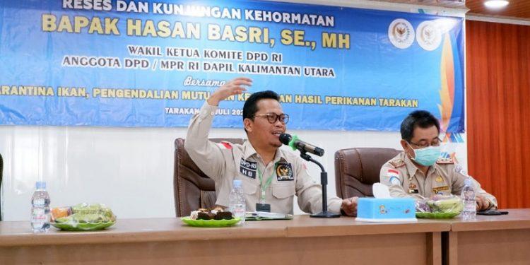 Wakil Ketua Komite II DPD RI Hasan Basri melakukan Kunker ke BKIPM Kota Tarakan, Selasa (28/7). Foto : Istimewa