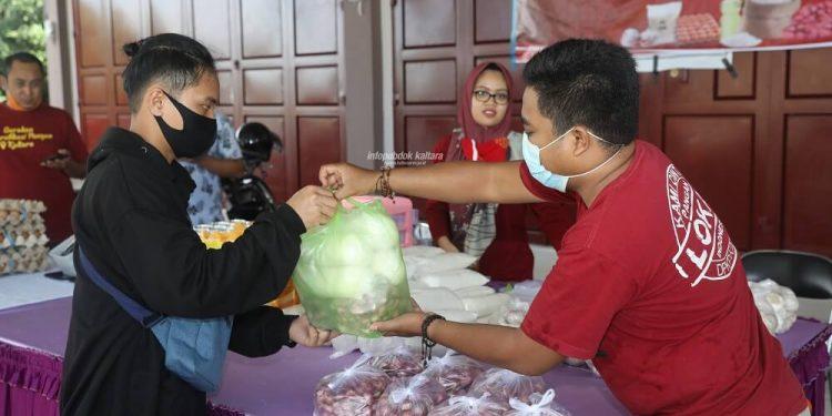 Pelaksanaan Gelar Pangan Murah di TTIC Kaltara, Selasa (28/7).Foto:Humas Pemprov Kaltara