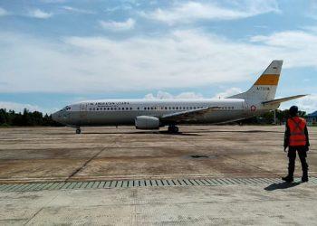 Boeing 737 TNI AU, saat Berada di Apron Lanud Anang Busra Tarakan. Foto: Fokusborneo.com