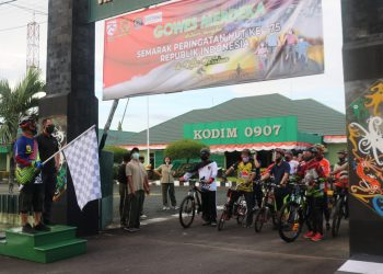 menyemarakan HUT ke 75 Kemerdekaan Republik Indonesia, Kodim 0907 Tarakan menggelar gowes dan donor darah. Foto: Pendim 0907/Trk