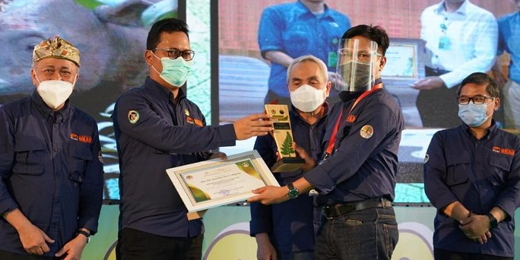Wakil Ketua Komite II DPD RI Hasan Basri menerima penghargaan lingkungan yang diserahkan saat peringatan Hari Konservasi Alam Nasional (HKAN) 2020, di Taman Nasional Kutai (TNK), Bontang, Kaltim, Rabu (16/9). Foto ; Istimewa