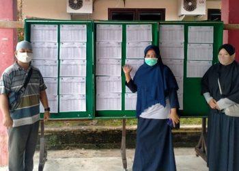 Anggota KPU Kota Tarakan Jumaidah mengecek pengumuman DPS Pilgub Kaltara 2020 di Kantor Kelurahan Pamusian, Sabtu (19/9). Foto : Istimewa