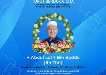 Segenap Pimpinan dan Staff Fokusborneo Com, Turut Berduka Cita Atas Meninggalnya H Abdul Latif Bin Beddu (Ayah dari Walikota Tarakan Khairul). grafis Fokusborneo.com