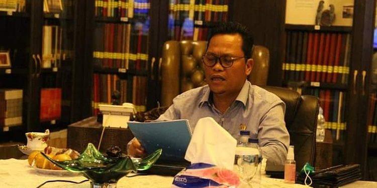 Wakil Ketua Komite II DPD RI Hasan Basri memberikan keterangan secara virtual atas perkara Nomor 59, 60, dan 64/PUU-XVIII/2020 kepada Mahkamah Konstitusi atas gugatan UU Minerba. Foto : Istimewa
