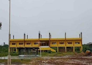 Kondisi gedung SMA Negeri 1 Sembakung yang tengah dalam proses pengerjaan. Foto: Humas Pemprov Kaltara