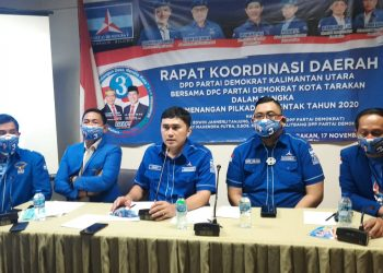 RAKORDA: Partai Demokrat Kalimantan Utara dan DPC Tarakan, menggelar rapat koordinasi daerah (rakorda) bersama dengan Satgas Pilkada 2020 DPP Partai Demokrat, di Tarakan Plaza, Selasa (17/11). Foto: Istimewa