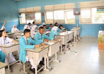 Kegiatan pembelajaran tatap muka yang berlangsung di salah satu SMK di Kaltara, sebelum pandemi. Foto: Humas Pemprov Kaltara