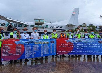 Subsidi Angkutan Udara Perintis Tahun 2021 Terbang Perdana. foto: ist