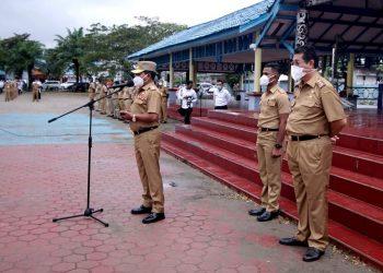 Gubernur Kaltara Zainal A Paliwang pimpin apel perdana setelah resmi menjabat sebagai Gubernur di lingkungan Pemprov Kaltara.Foto: Ist