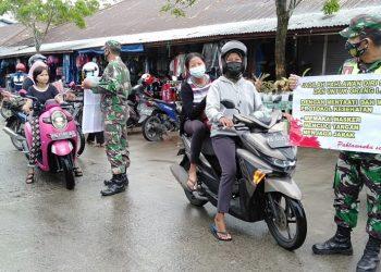 Personil Kodim 0907 Tarakan, melakukan operasi pendisiplinan protokol kesehatan di beberapa tempat di Kota Tarakan .Foto: Penerangan Kodim 0907 Tarakan