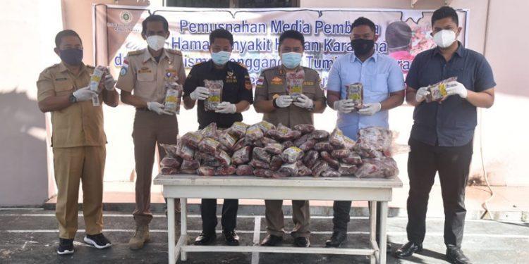 1,9 Ton Daging Ilegal Asal Tawau Dimusnahkan BKP Tarakan. Foto: ist