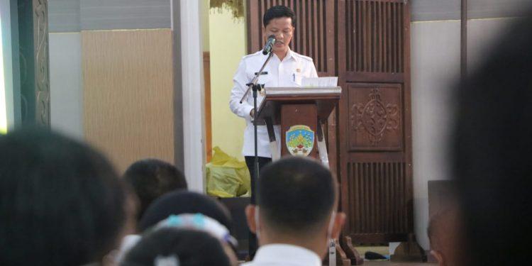 Bupati Kabupaten Tana Tidung, Ibrahim Ali memberi sambutan saat membuka secara resmi Musyawarah Perencanaan Pembangunan (Musrenbang) Kabupaten Tana Tidung dalam rangka penyusunan rencana kerja pemerintah daerah (RKPD) tahun 2022.Foto: Ist