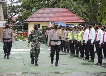 Polres Malinau melaksanakan apel gelar pasukan operasi keselamatan Kayan 2021 di halaman Mako Polres Malinau