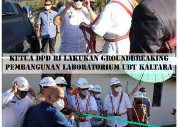 Ketua DPD RI, AA LaNyalla Mahmud Mattalitti, melakukan peletakan batu pertama pembangunan Laboratorium Ilmu Hayati Universitas Borneo Tarakan. Foto : Humas DPD RI.