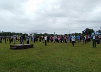 Bupati KTT bersama seluruh ASN melaksanakan senam pagi bersama. Foto: Ist