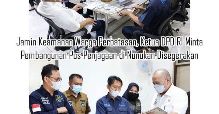 Ketua DPD RI AA LaNyalla Mahmud Mattalitti bersama Senator dapil Kaltara membahas masalah Pos Penjagaan diperbatasan Nunukan. Foto : Humas DPD RI.