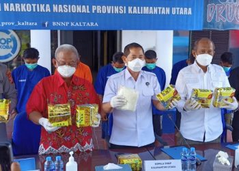 BNNP Kaltara Gelar Press Release Pengungkapan Narkoba Seberat 20 Kg Jaringan Internasional. Foto: fokusborneo.com