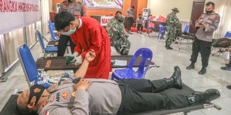 Kapolres Malinau AKBP Agus Nugraha Ikuti Bakti Sosial Donor Darah. foto: ist/Humas Polres Malinau
