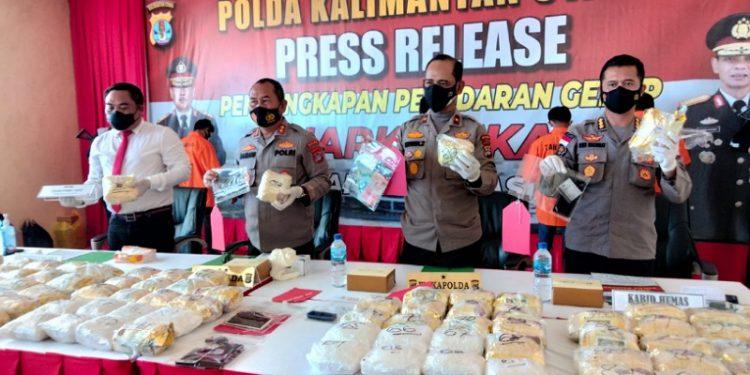 Kapolda Kaltara Irjen Pol Bambang Kristiyono Pimpin Press Release Pengungkapan Sabu-Sabu Seberat 126 Kilogram. foto: fokusborneo.com